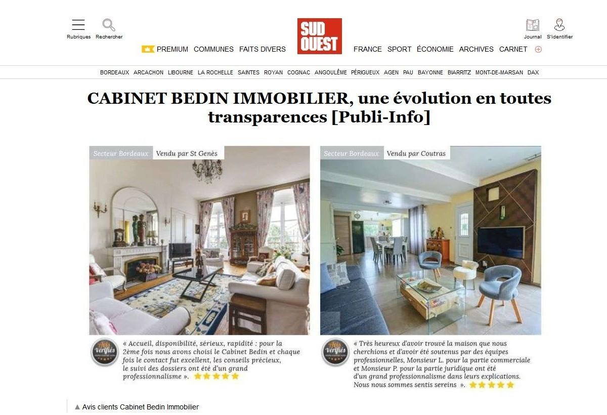 article cabinet bedin immobilier sudouest du 3 février 2020